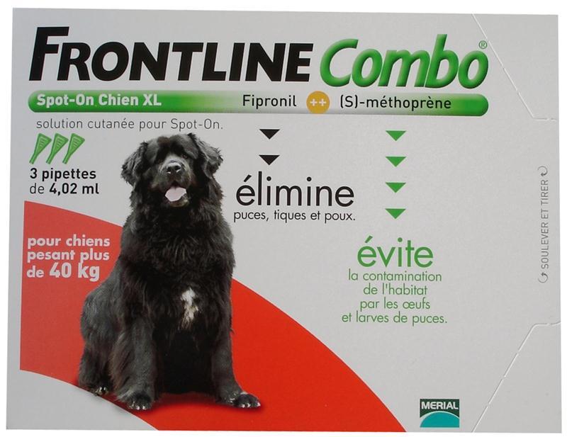 Frontline combo chien 40kg et plus anti puces et anti - Anti puce chien maison ...