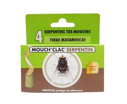 Serpentins anti mouches insecticide tue-mouches Mouch'Clac blister de 4 rubans