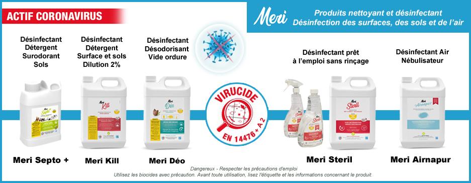 Désinfectant Meri EN14476 coronavirus