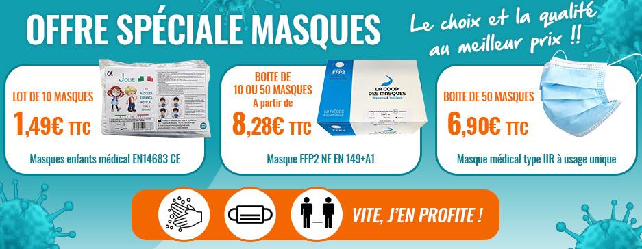 Promotion masque FFP2 et chirugical et enfants